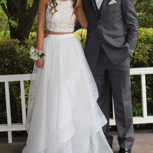 White 2 piece Prom Dress + matching clutch